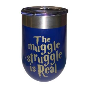 Other - The Muggle Struggle is Real - gold/ navy tumbler